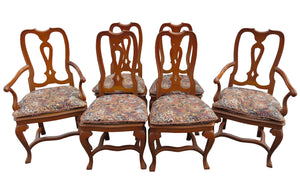 edgebrookhouse - Vintage Baker Furniture Co English Queen Anne Inspired Dining Chairs - Set of 6