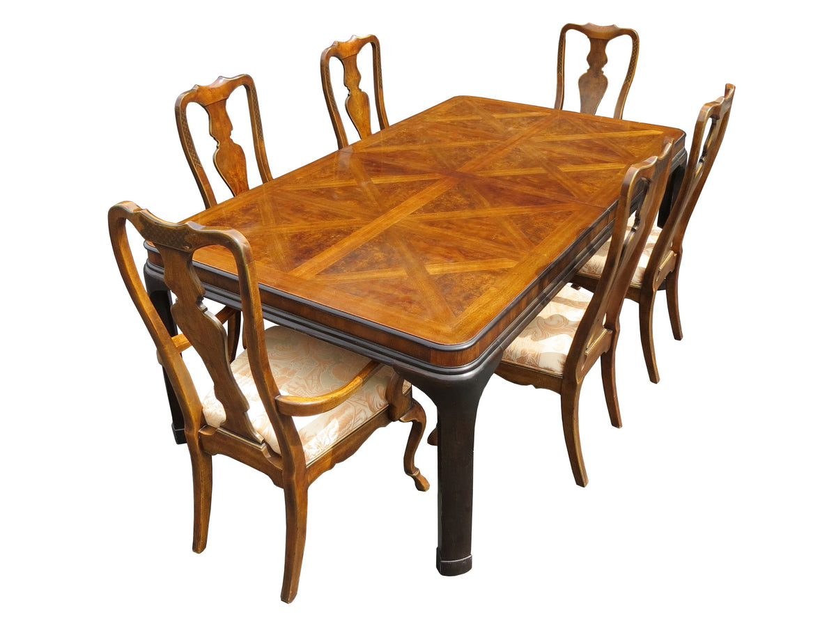 Vintage Drexel Heritage Walnut & Mahogany Dining Set - Table + 6 Chairs