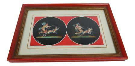 edgebrookhouse - Vintage Gouache of Cherubs and Chariots - Italian Pompei by Francione
