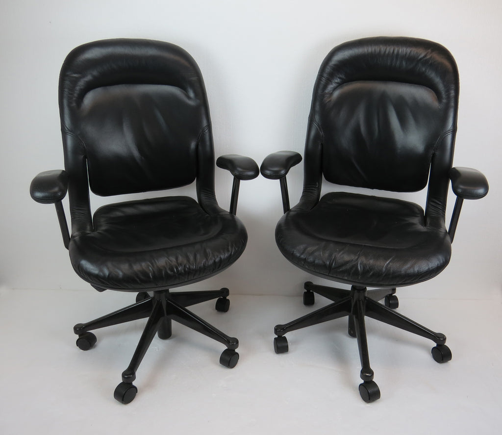 Vintage Herman Miller Black Leather Office / Task Chairs - a Pair