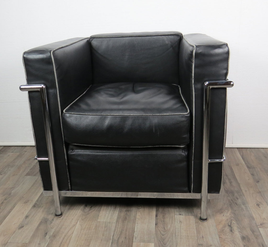 Cassina Le Corbusier LC2 Black Leather Club Chair – edgebrookhouse
