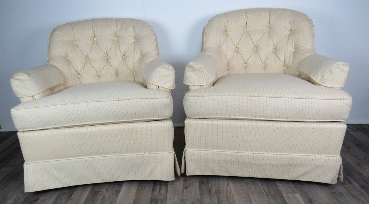 Vintage Off White Drexel Heritage Lounge Chairs A Pair