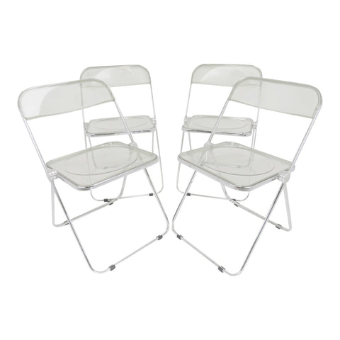 edgebrookhouse - Vintage Giancarlo Piretti Plia Lucite Folding Chairs for Castelli - Set of 4