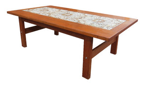 edgebrookhouse - 1960s Mid-Century Modern Danish Tile Top Teak Coffee Table in the Style of Gangso Mobler