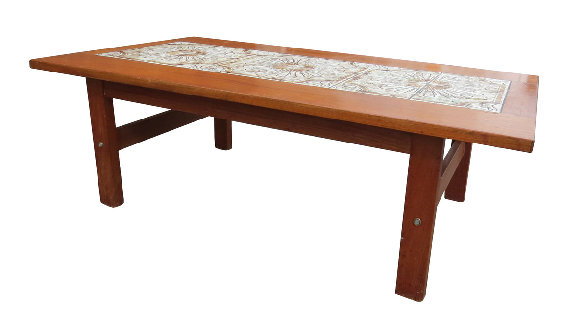1960s Mid Century Modern Danish Tile Top Teak Coffee Table In The Styl Edgebrookhouse