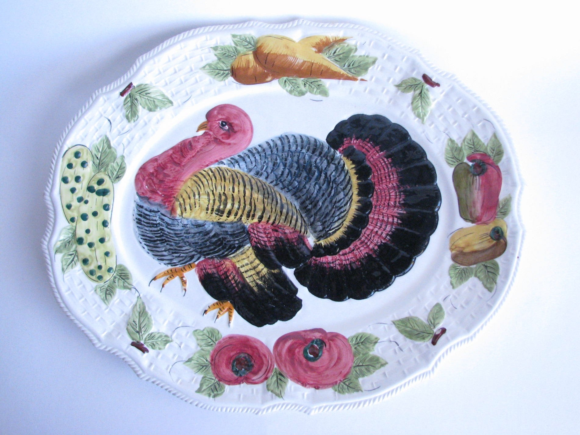edgebrookhouse - Vintage Large Colorful Ceramic Turkey Platter Made in Italy