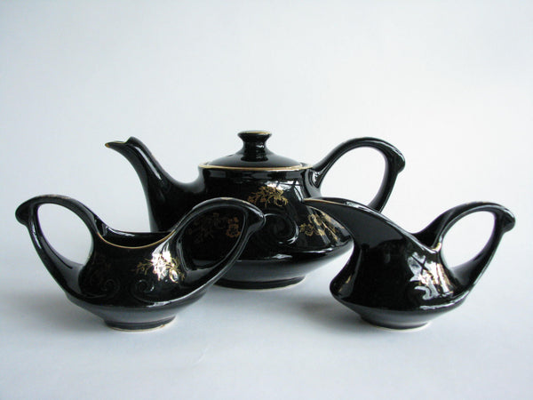 edgebrookhouse - 1950s Black Pearl China Hand Decorated with 22K Gold USA Teapot, Creamer, and Sugar Bowl - 3 Piece Set