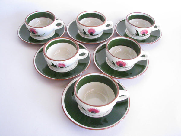 edgebrookhouse - 1950s Stangl Hand-Carved and Hand-Painted Thistle Cups and Saucers - Set of 6