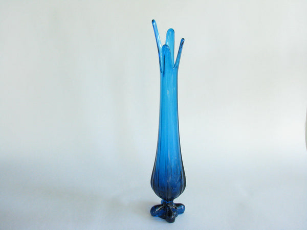 edgebrookhouse - 1960s Viking Blue Turquoise Footed Slung Vase with Splayed Top