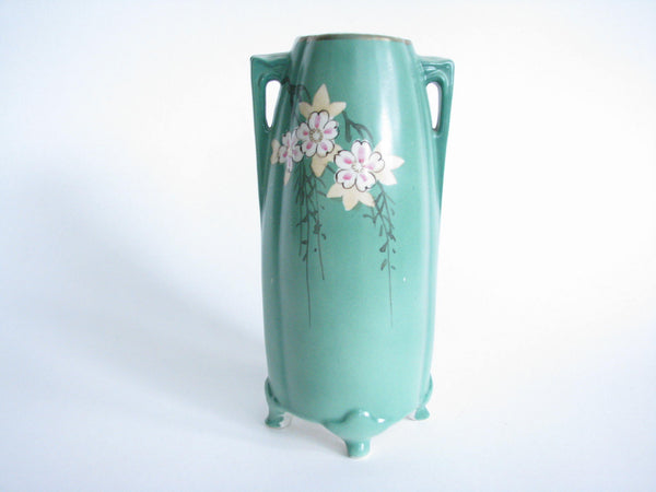 edgebrookhouse - Antique Art Nouveau Hand Painted Porcelain Vase with Bird and Flowers