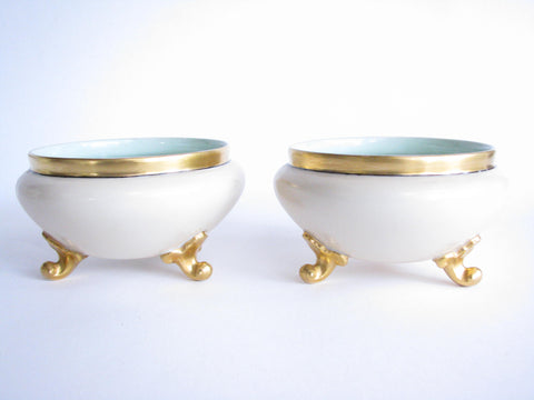 edgebrookhouse - Early 20th Century Gerard Dufraiuseix et Abbott (GDA) Limoges France Porcelain Footed Bowls - a Pair