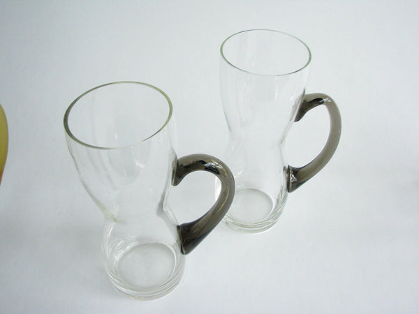 edgebrookhouse - Hand Blown Glass Mugs with Multicolor Handles in the Style of Per Lutken - Set of 6