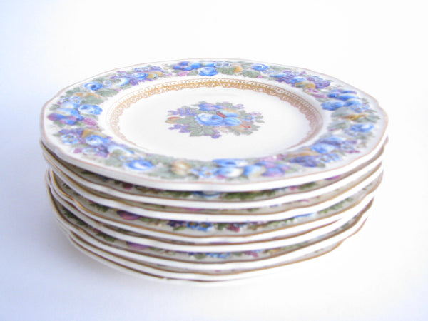 edgebrookhouse - Vintage Crown Ducal Colorful Florentine Embossed Bread Plates - Set of 2