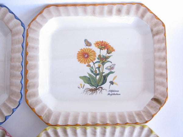 edgebrookhouse - Vintage Due Torri Ceramic Rectangular Dinner Plates with Botanical Design - Set of 4