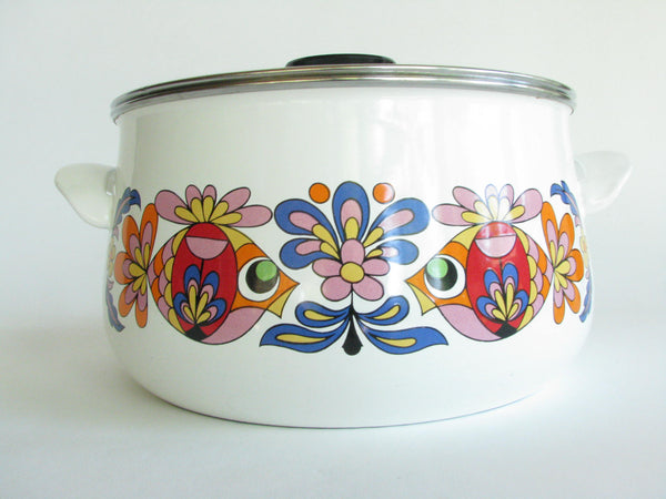 edgebrookhouse - Vintage Enamelware Lidded Cooking Pot with Colorful Fish and Floral Motif