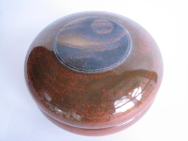 edgebrookhouse - Vintage Handmade Art Pottery Round Lidded Bowl / Trinket Box Signed DH
