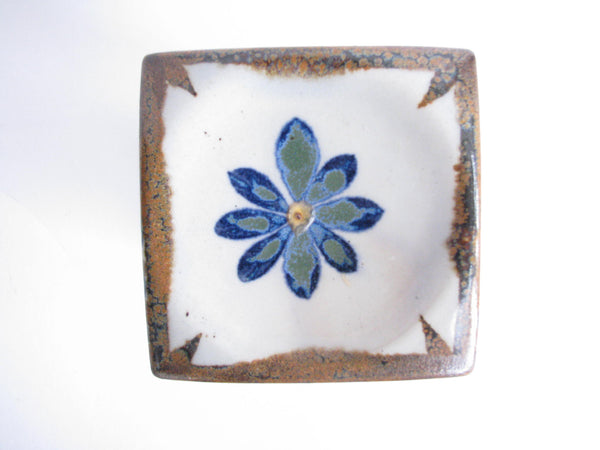 edgebrookhouse - Vintage Ken Edwards Tonala Mexican Stoneware Pottery Square Pillar Candle Holder