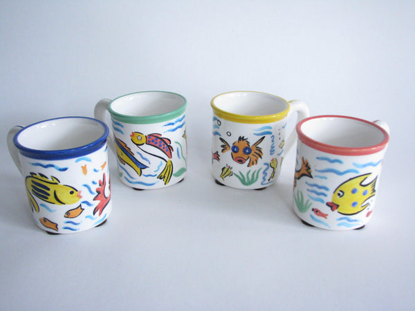 edgebrookhouse - Vintage Strata Group Les Tropiques Hand-Painted Ceramic Mugs with Fish Design - Set of 4