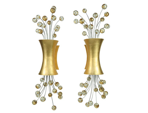 "edgebrookhouse - Hollywood Regency 24k Gold Leaf ""Pop"" Sconces Designed by Fisher Weisman for Boyd Lighting - a Pair"