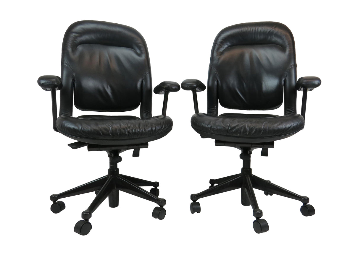 Image of: Vintage Herman Miller Black Leather Office Task Chairs A Pair Edgebrookhouse