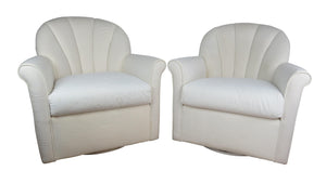 edgebrookhouse - Late 20th Century Vintage Hollywood Regency White Scallop Back Swivel Lounge Chairs - a Pair