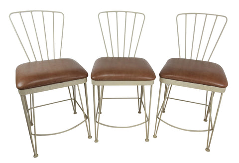 edgebrookhouse - Late 20th Century Vintage Iron Counter Stools by Amisco - Set of 3