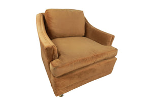 edgebrookhouse - Mid-Century Vintage Hollywood Regency Tan Velvet Club Chair on Casters