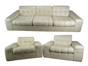edgebrookhouse - 1970s modern domani off white tufted vinyl sofa suite 3 pieces