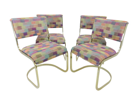edgebrookhouse - Vintage 1960s Milo Baughman Style Brass Cantilever Dining Side Chairs - Set of 4