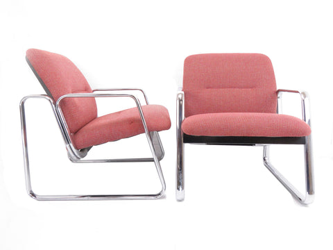 edgebrookhouse - Vintage 1980s Steelcase Chrome Lounge Chairs - a Pair