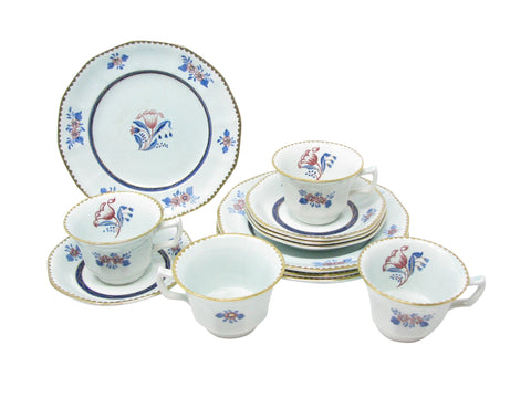 edgebrookhouse - Vintage Adams China Georgian Coffee Tea Dessert Set with Oversized Cups - 12 Pieces