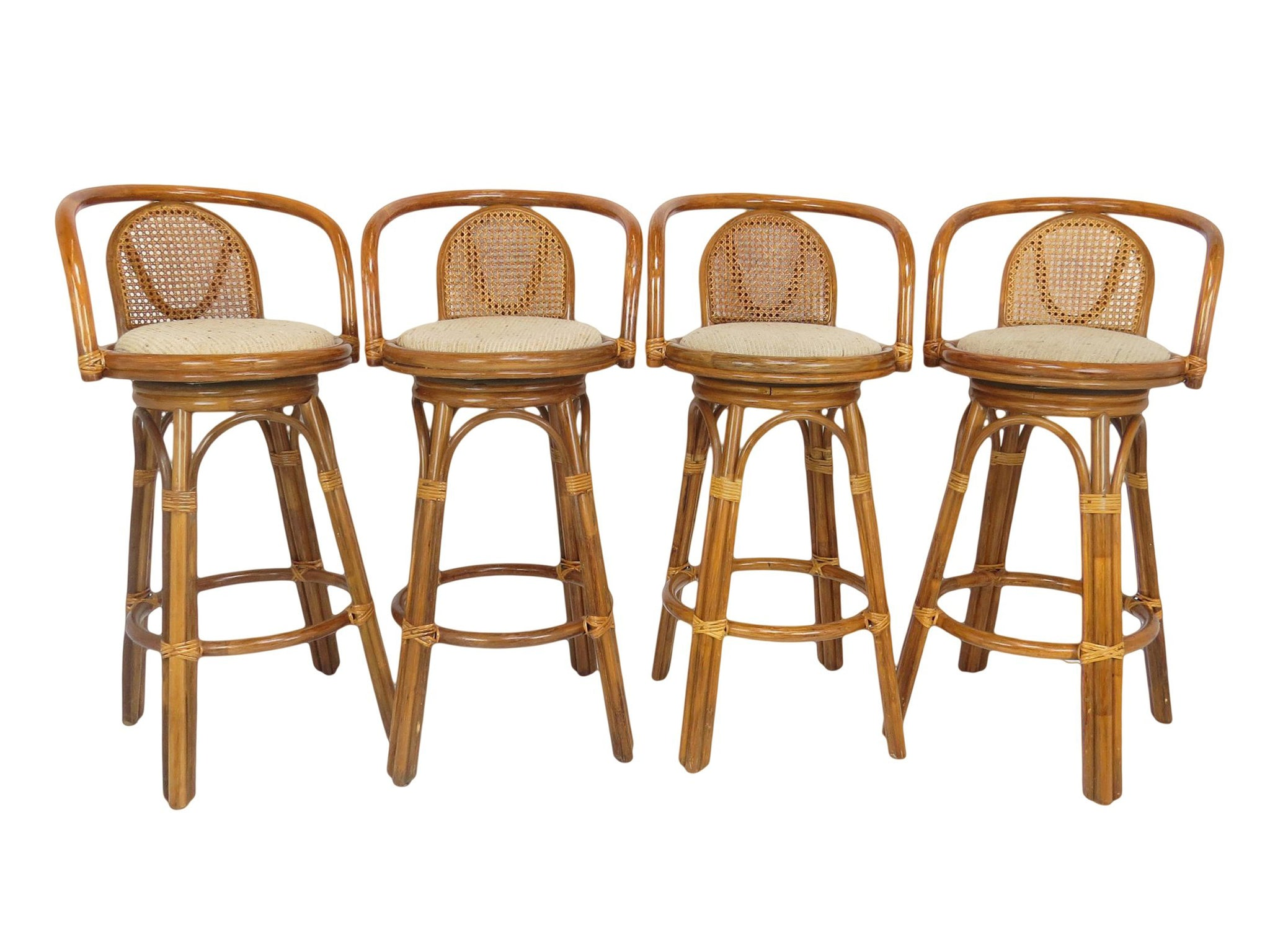 Picture of: 1970s Vintage Tiki Bamboo And Rattan Swivel Bar Stools Set Of 4 Edgebrookhouse