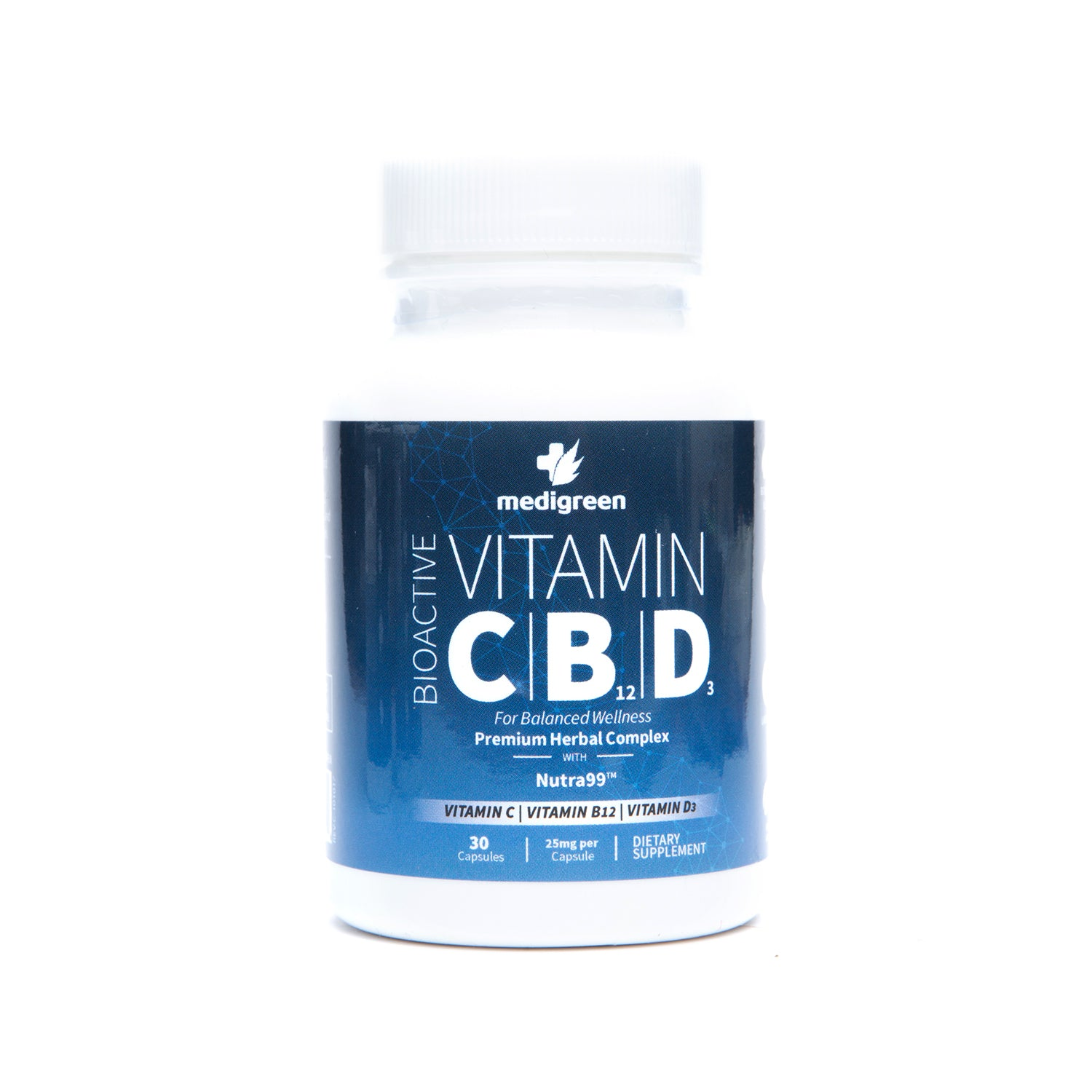 BioActive Vitamin C/B12/D3  30 Caps/25mg CBD Hemp Oil