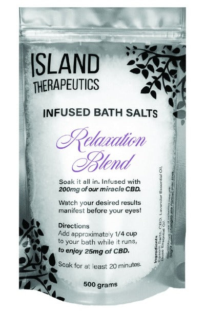 Island Therapeutics CBD Infused Bath Salts - Relaxation Blend 200mg/500g