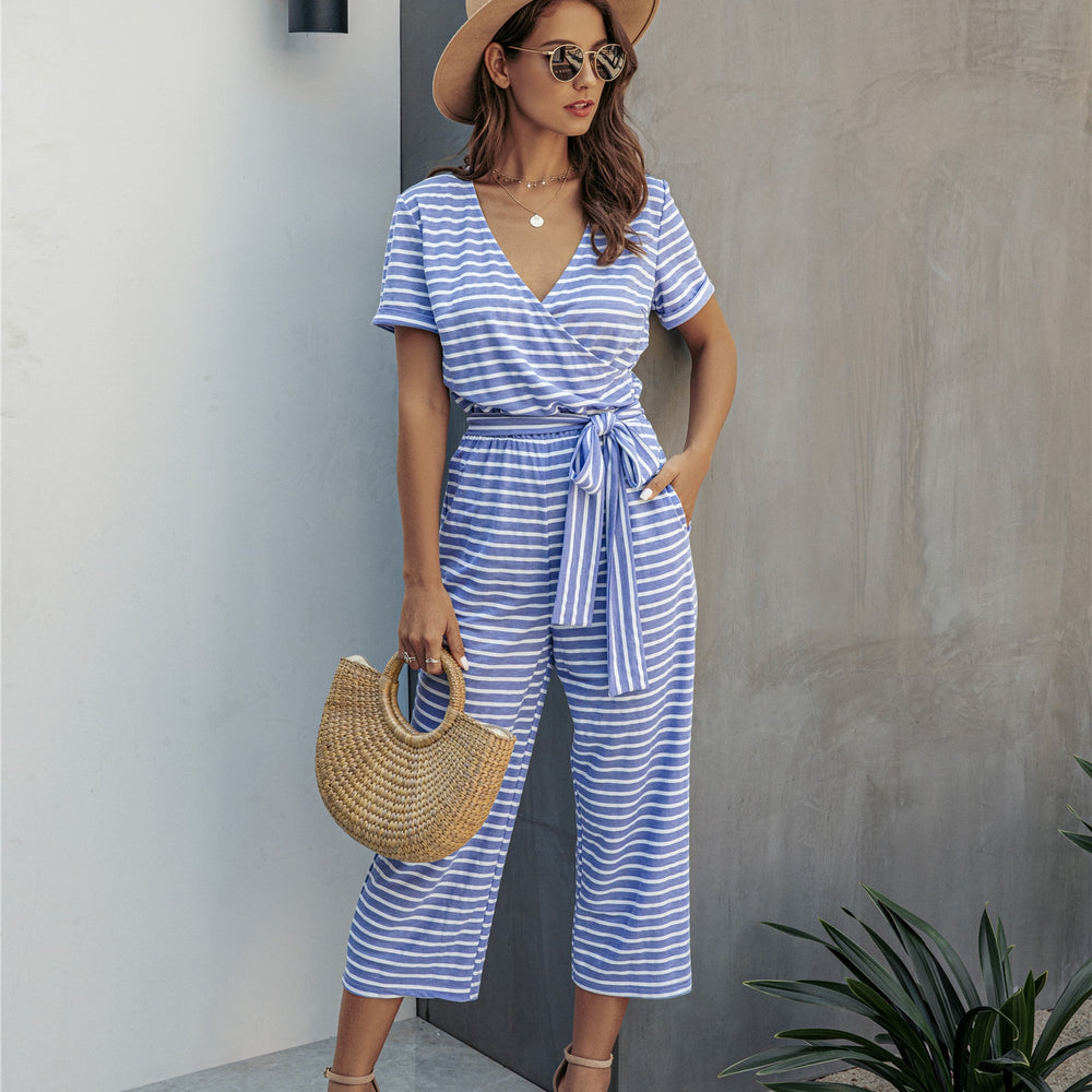 Women's Cropped Stripe Jumpsuit