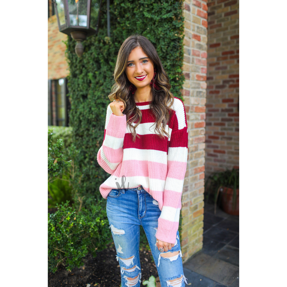 Pink and Red Colorblock Sweater