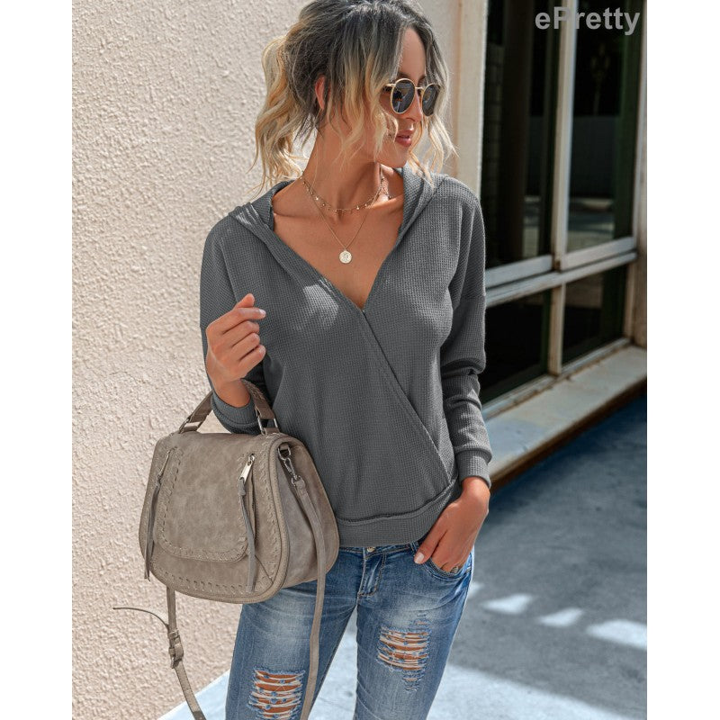 Women's Grey Hooded Waffle Shirt
