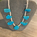 Turquoise and white necklace