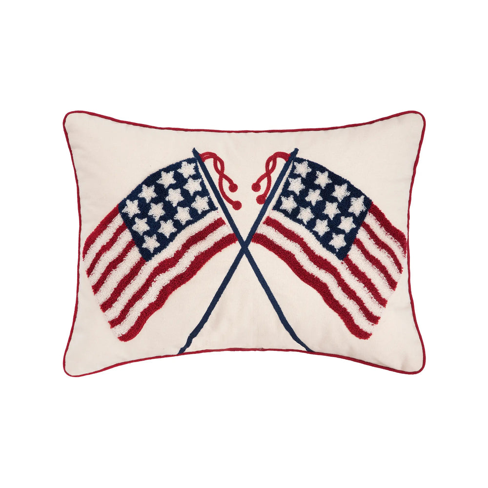 Double U.S. Flag Pillow