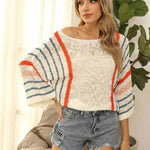 Women's Off Shoulder Stripe Sweater