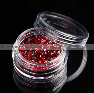 Glitter Dust - Hexi-mixed sizes Red