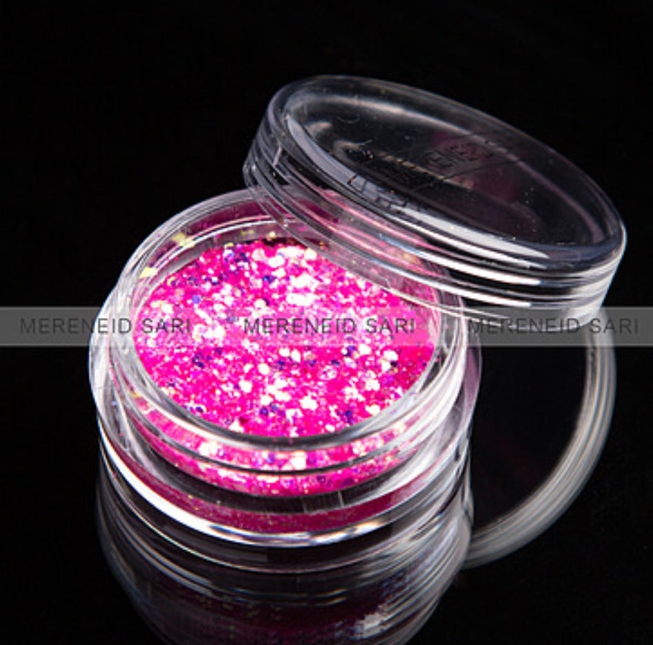 Glitter Dust - Hexi-mixed sizes Shining Rose