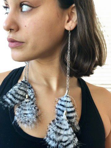 Two Zebra Feather Silver Chain