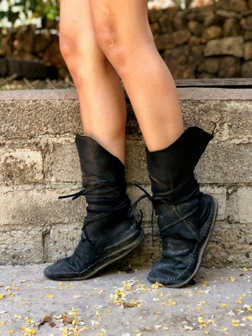 Black Leather Wrap Boots