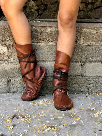 Camel Leather Boots