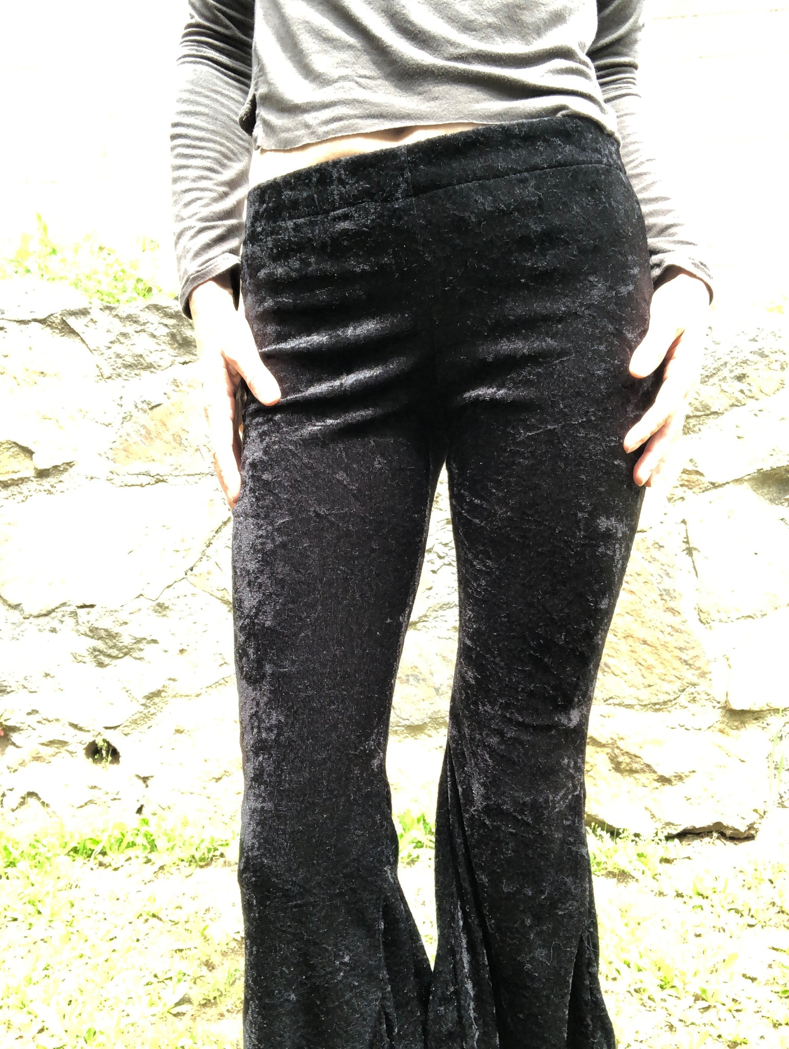 Black Crushed Velvet Flair Pants