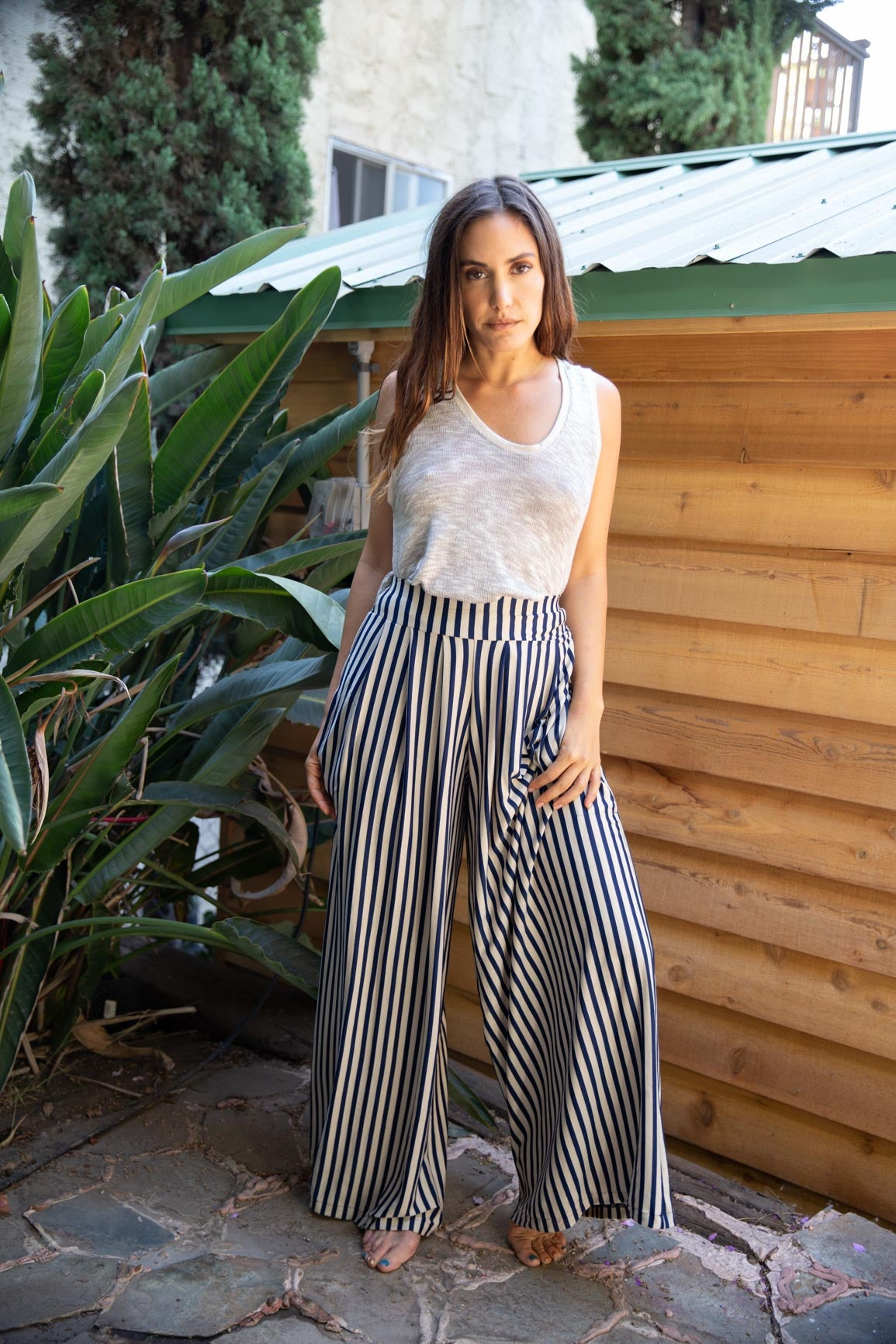 Nina Pleated Stripe Pants