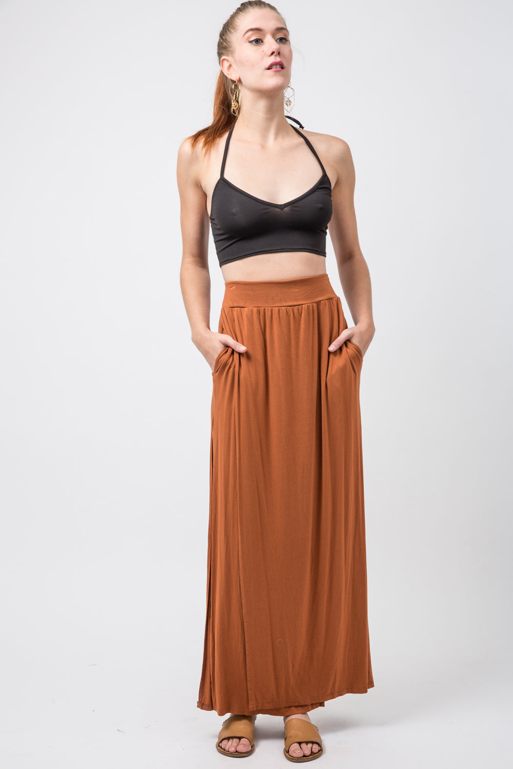 Ash Skirt [KUCOON] high waisted long skirt with slits on side and pockets