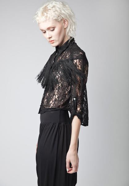 Gisele Fringe Top | KUCOON | button up long sleeved lace top with fringe on front. Made in Los Angeles