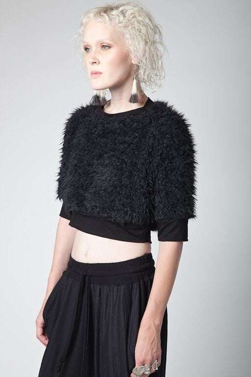 Faux Fur Cropped Sweater